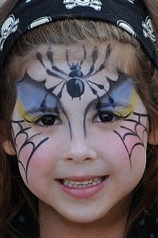 spider girl face painting - Halloween Easy Face Painting