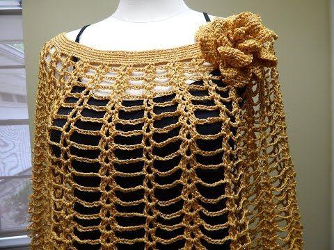 Capa o poncho corto con cuello alto tejido a crochet - YouTube