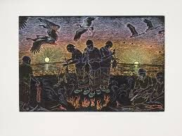 susan dorothea white - Google Search Goose Camp, Kakadu, hand coloured block print