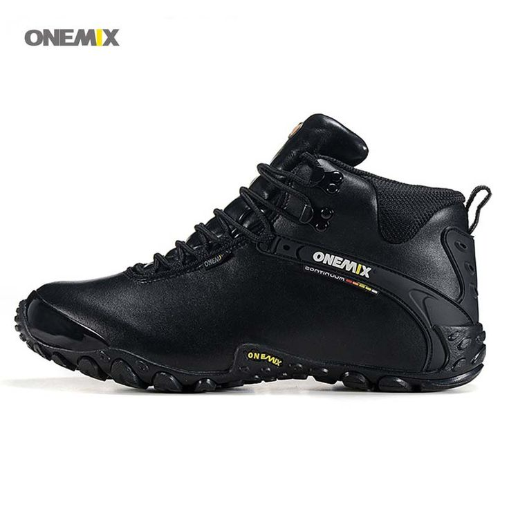 Onemix Hot Autumn/Winter Warm High Climbing Men's Hiking Shoes Leather Outdoor Mens Water Proof Mountain Boots 1058