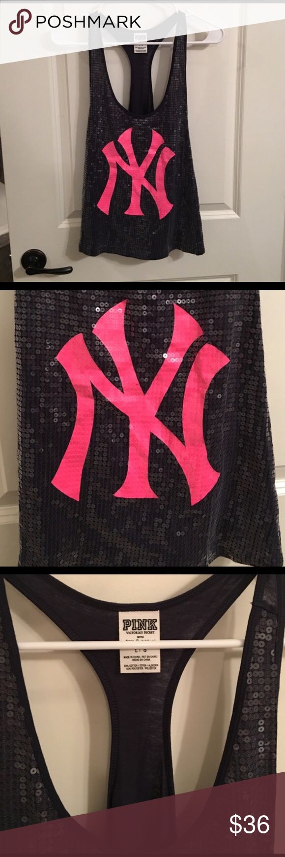Victoria Secret New York Yankees Tank Sequence razor back tank, runs small, large size, hot pink and navy blue, New York Yankees, never worn PINK Tops Tank Tops