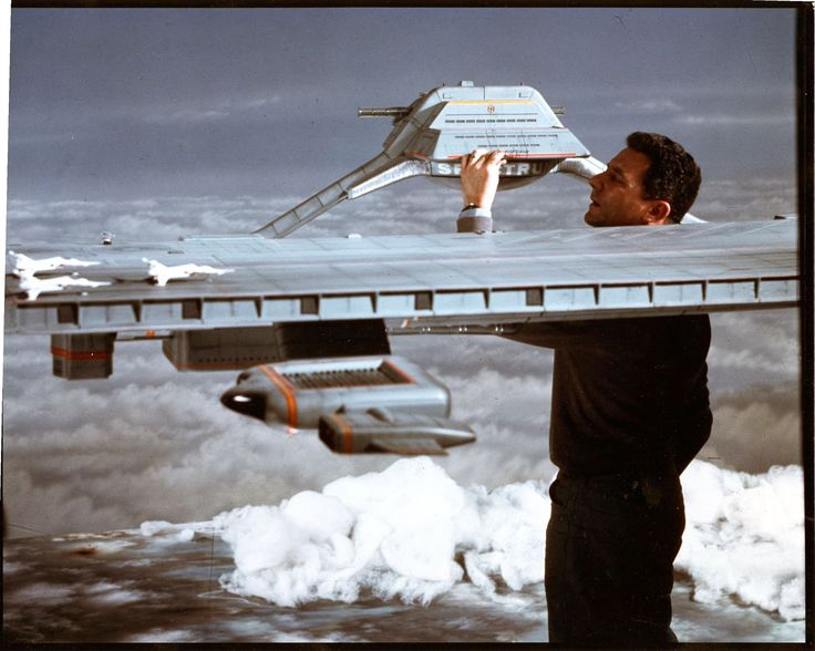 Derek Meddings and the Cloudbase miniature from the original CAPTAIN SCARLET TV series