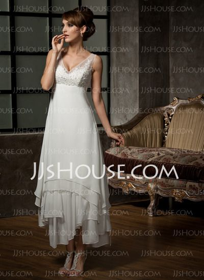 Wedding Dresses - $159.99 - A-Line/Princess V-neck Ankle-Length Chiffon Tulle Wedding Dress With Lace (002012655) http://jjshouse.com/A-Line-Princess-V-Neck-Ankle-Length-Chiffon-Tulle-Wedding-Dress-With-Lace-002012655-g12655