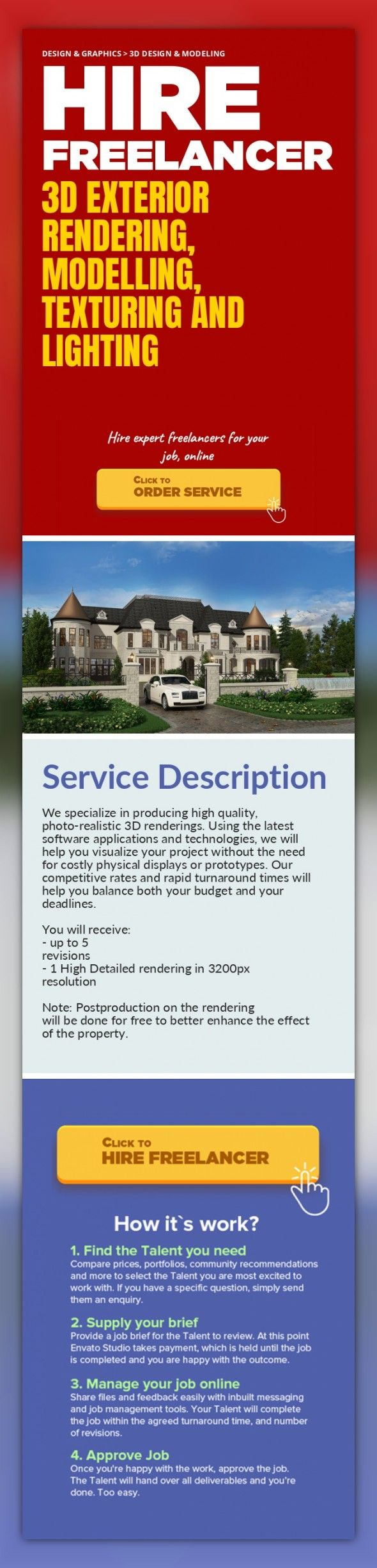3D Exterior Rendering, Modelling, Texturing and Lighting Design & Graphics, 3D Design & Modeling   We specialize in producing high quality, photo-realistic 3D renderings. Using the latest software applications and technologies, we will help you visualize your project without the need for costly physical displays or prototypes. Our competitive rates and rapid turnaround times will help you balance ...