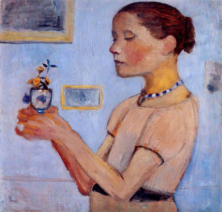 Paula Modersohn-Becker  - Young girl with yellow flowers in the glass
