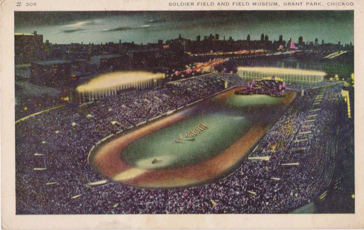 Vintage Postcard - Soldier Field and Field Museum - Grant Park - Chicago