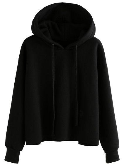Sudadera con capucha cordón - negro