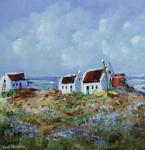 Buy COTTAGES WITH A SHED: (oil on stretched canvas: 400mm x 400mm x 20mm) for R900.00