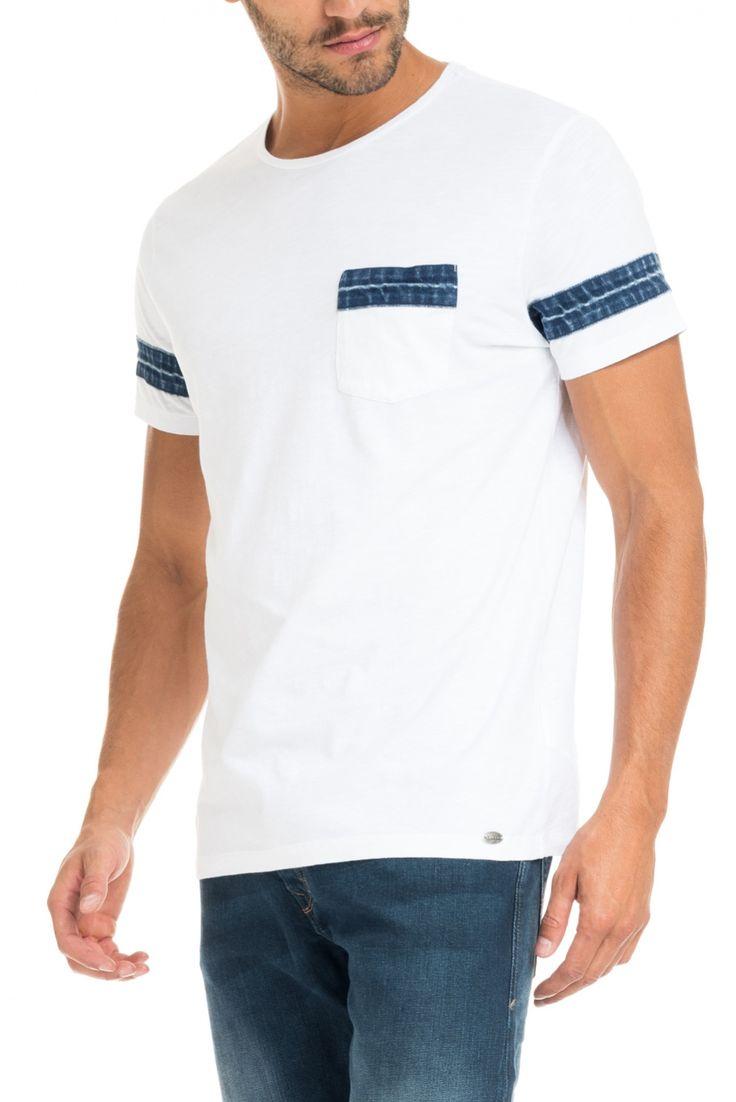 T-shirt com riscas nas mangas e bolso frontal | 117721 Branco | Salsa