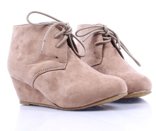 Taupe-Lace-Up-Girls-Wedge-High-Heels-Kids-Ankle-Boots-Youth-Shoes-Size-2