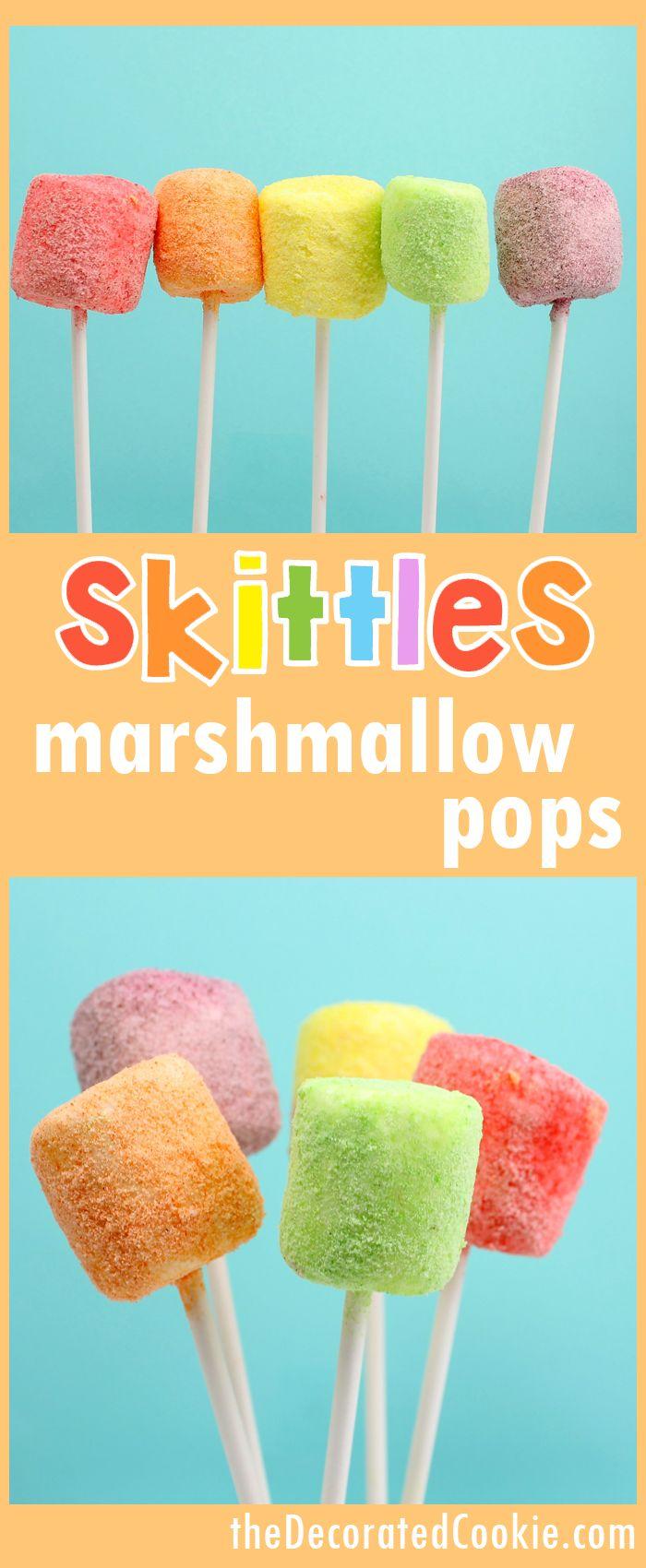 SKITTLES marshmallow pops! Rainbow party or unicorn food marshmallow pops using ground skittles candy.