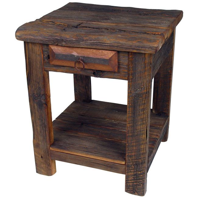 the oneofakind character of this rustic old wood end table