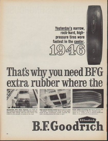 """Description: 1962 B.F. GOODRICH vintage print advertisement """"Big Edge Tires""""-- That's why you need BFG Big Edge Tires with extra rubber where the wear is! Silvertown Big Edge. -- Size: The dimensions of each page of the two-page advertisement are approximately 11 inches x 14 inches (28cm x 36cm). Condition: This original vintage advertisement is in Very Good Condition unless otherwise noted ()."""