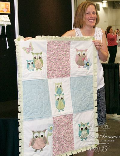 """Owl quilt. Owls were in 40 years ago and then went out. Now they are back """"in"""" big time! Love this little quilt. It would be a very cute baby quilt. :)"""
