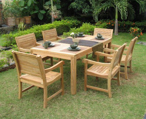 7pc Borth Outdoor Patio Teak Dining Table Set Furniture By Azzurro Living Max Stores