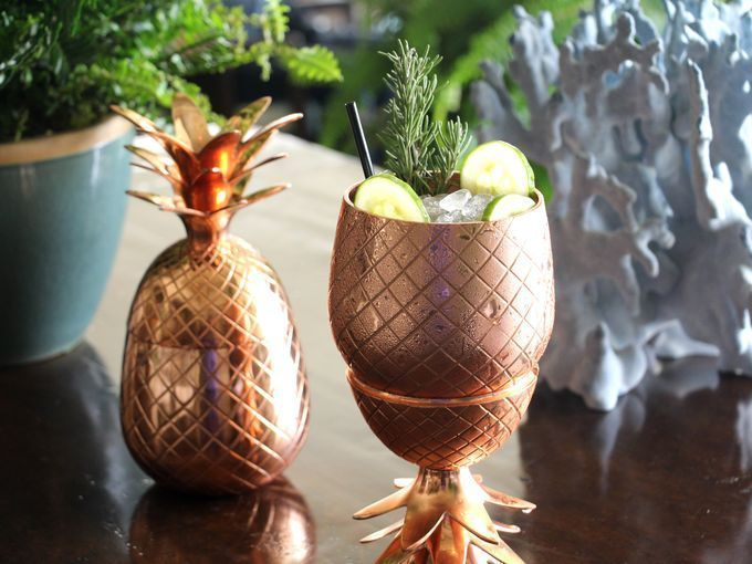 A-37  Copper 2 Pc Pine Apple Mug 20 Oz Father'Day / Party Mugs / Anversary Gift