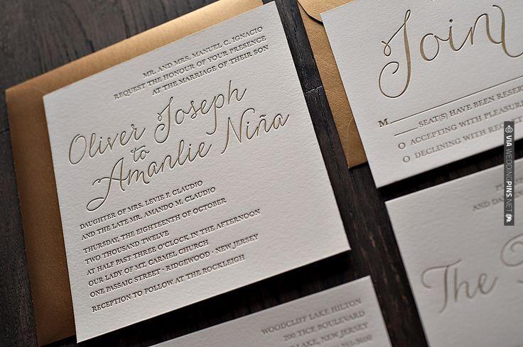 Gold Metallic Letterpress Wedding Invitations from Jupiter & Juno Letter Press. So fancy!   VIA #WEDDINGPINS.NET
