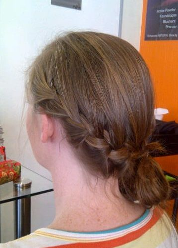simple, elegant upstyle. french braid and chignon