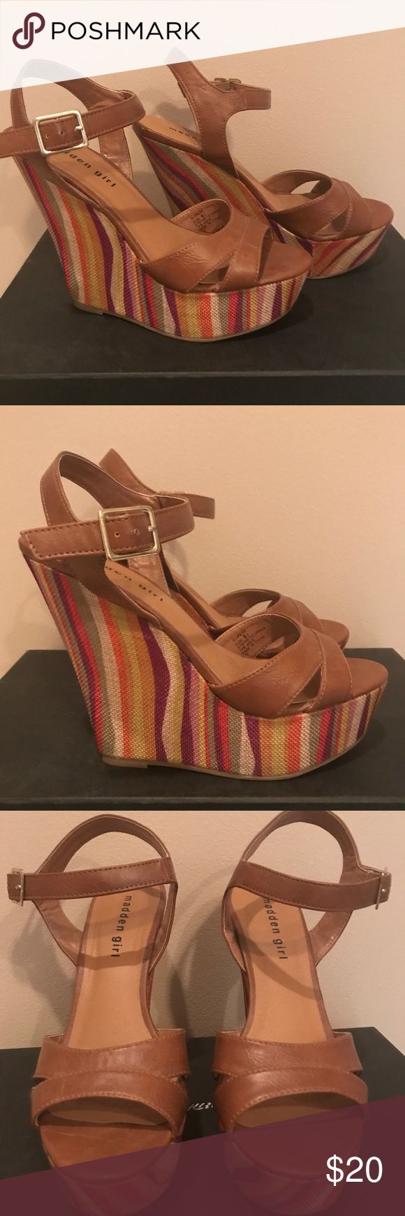 Wedges Super cute multi colored wedges. Can be worn with anything and very comfortable. In really great condition. Madden Girl Shoes Wedges