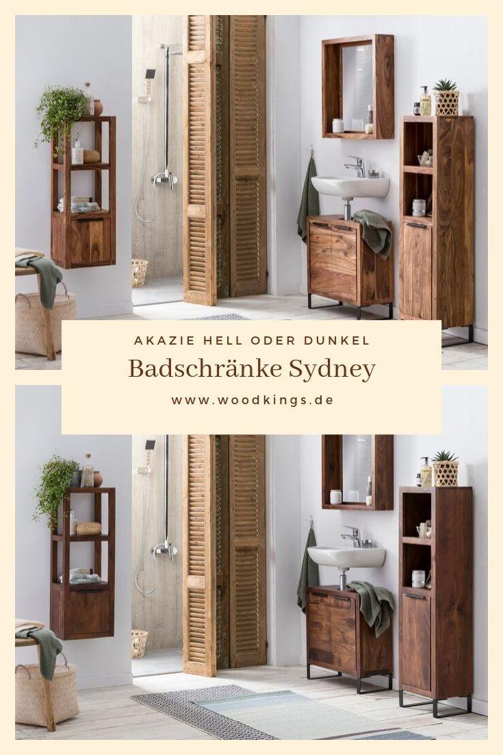 Woodkings Badschranke Sydney Badmobel Badschrank Holz Schmal Stehend Hangend Metall Regal Badezimer Idee Schrank Badezimmer Schrank Badezimmer Holz