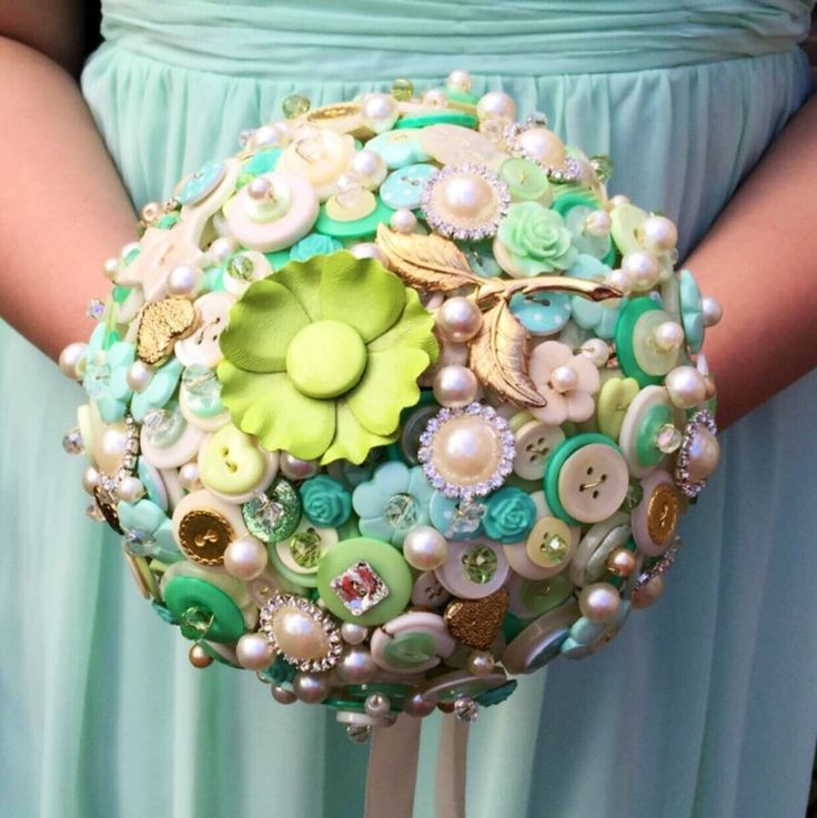 Wedding button bouquet - Mint green and ivory wedding flowers for Bride or Bridesmaid, vintage, retro wedding flowers by RetroButtonBouquets on Etsy https://www.etsy.com/uk/listing/265319911/wedding-button-bouquet-mint-green-and