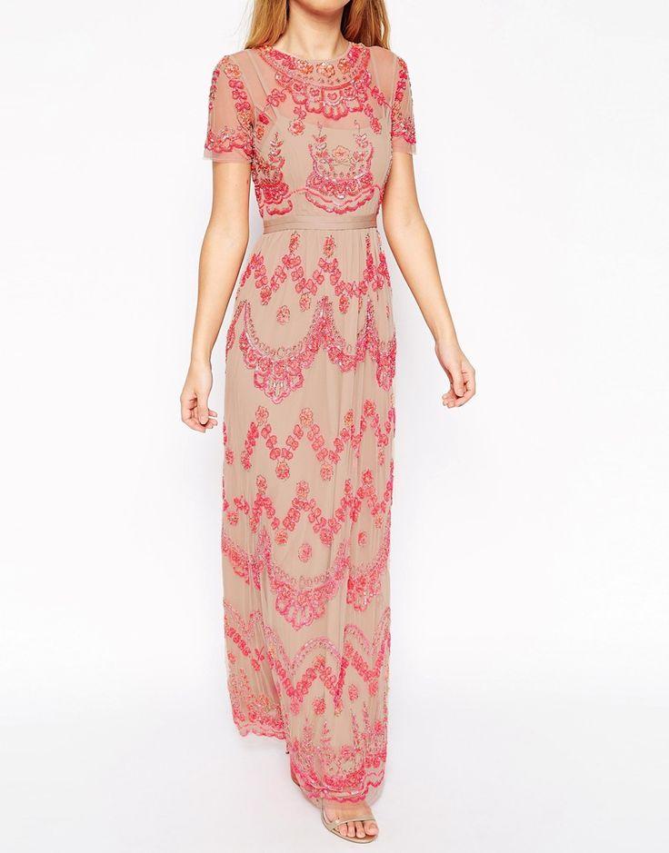 needle thread embellished tiered petal maxi dress at asos com