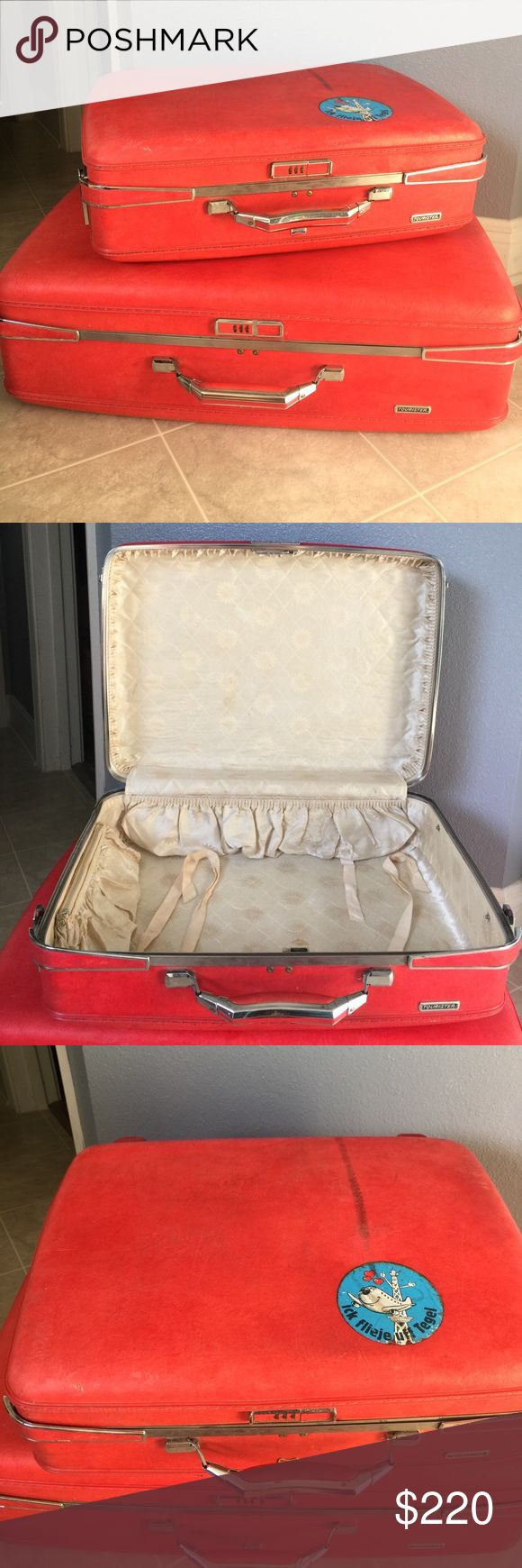 Vintage American Tourister Red Hardback Suitcases Vintage American Tourister Red Hardback Suitcases w/lock combination. Great vintage Condition. Large suitcase measures 26x19x8. Small suitcase measures 20x15x7. The price is for both suitcases together. American Tourister Bags Travel Bags