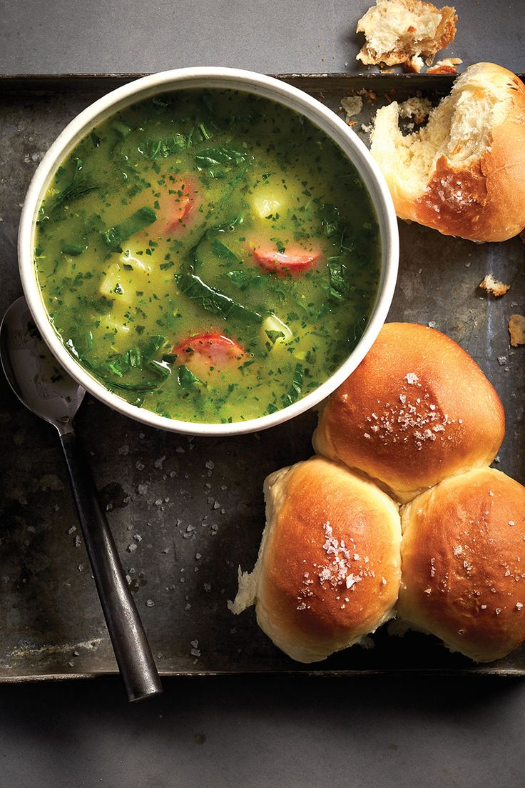 This isn't a traditional potato soup: Kale gives this Portuguese caldo verde its distinctive green hue.