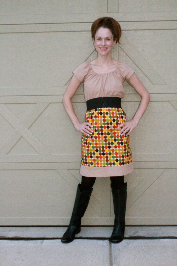 Camel and Polka Dot Fall Dress Women's by SweetHomeBoutique, $80.00