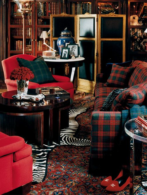 Rich colors, layered rugs, red, plaid - Ralph Lauren Home