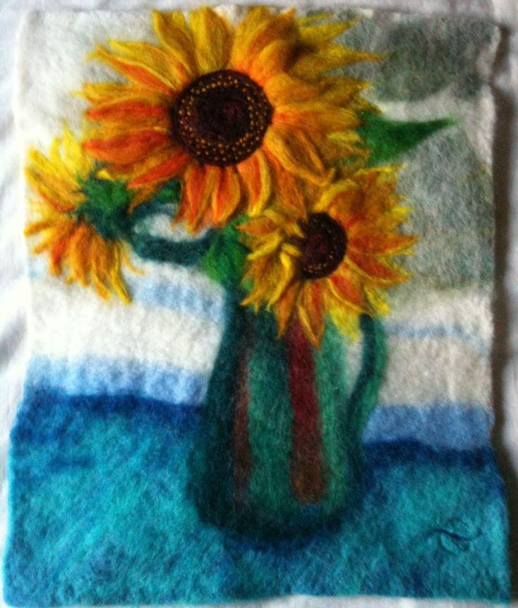 Sunflowers 2011 - Felt Picture 35cm x 42cm,