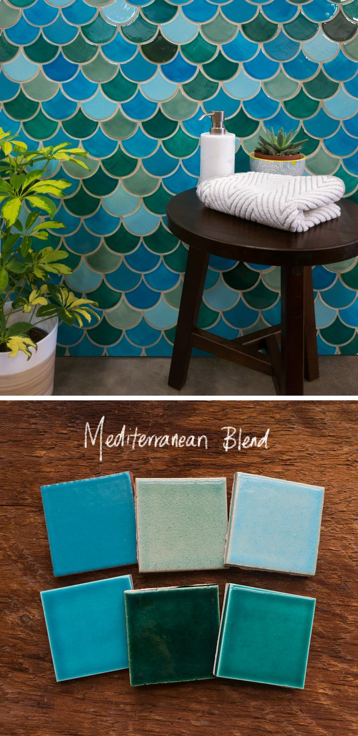 Moroccan Fish Scales are taking home renovations by storm! Our Mediterranean Blend is a unique blend of blues and greens to go perfect with a beach style or modern design. Perfect for shower walls and unique backsplashes! Order samples and get a free quote on our website. #mercurymosaics