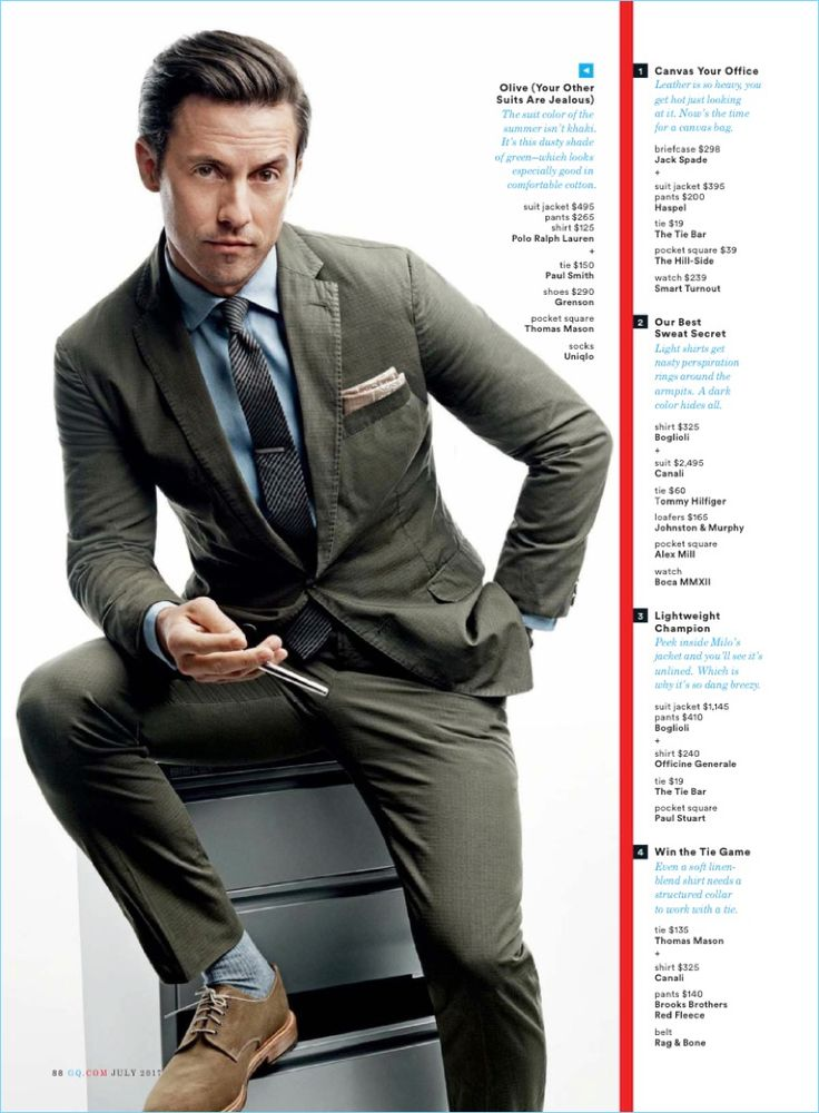 Actor Milo Ventimiglia sports a suit jacket, pants, and shirt by POLO Ralph Lauren with a Paul Smith tie. He also wears Grenson shoes and a Thomas Mason pocket square.