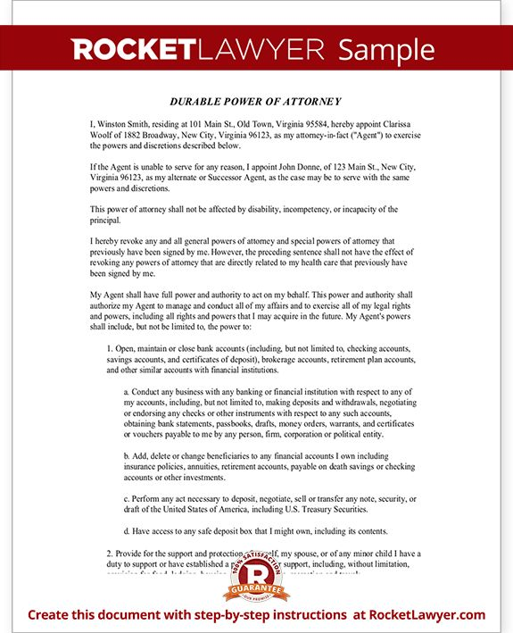 Power of Attorney Form Virginia u2013 Free VA General Durable Power of - durable power of attorney form