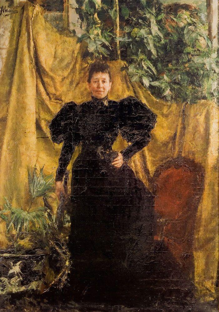Portrait of Signora Pantaleoni by Antonio Mancini (Italian 1852 - 1930)