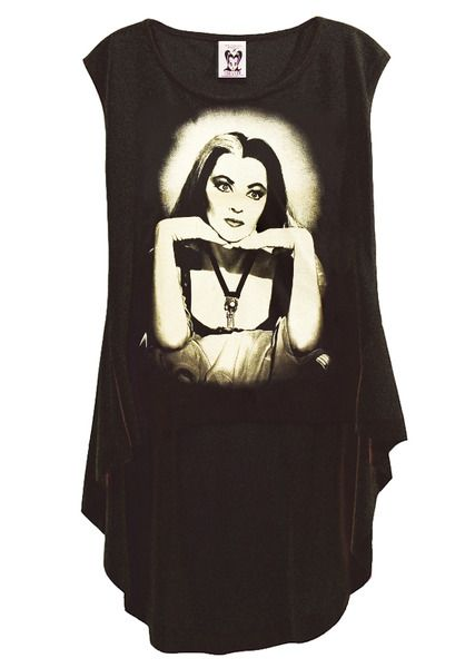 Lily Munster The Munsters Photo Printed HI-LOW Hemline Gothic T-Shirt Top by IDILVICE.