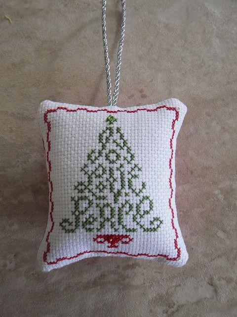Cross Stitch Christmas Tree Ornament #1 by Judy Whitman (JBW Designs)