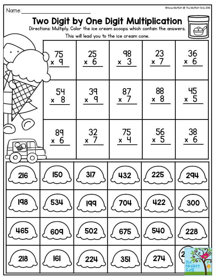 Two Digit by One Digit Multiplication- Once your students have mastered their basic multiplication facts, it's time to introduce more challenging multiplication activities, like this hands-on game that keeps students interested to see which path to take to get to the ice cream cone. So fun!