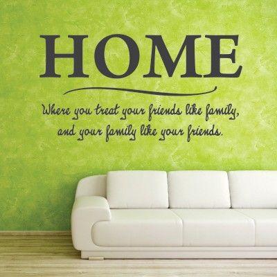 """Adesivo Murale - Home.  Adesivo murale di alta qualità con pellicola opaca di facile installazione. Lo sticker si può applicare su qualsiasi superficie liscia: muro, vetro, legno e plastica.  L'adesivo murale """"Home"""" è ideale per decorare il vostro soggiorno. Adesivi Murali."""