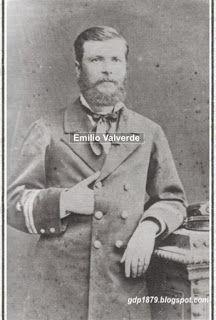 Emilio Valverde Prieto tomó el mando del Huáscar después de la muerte del Comandante Thompson durante el combate naval de Arica el 27 de febrero de 1880.