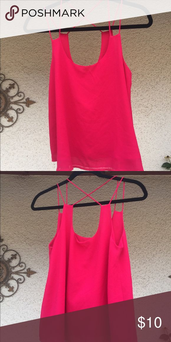 Hot Pink Strappy Top PERFECT FOR GIRLS NIGHT! Looks good with all wash and color jeans, and on all skin tones. Looks great with sparkly sandals or pointy heels! Non smoking home Tops Camisoles