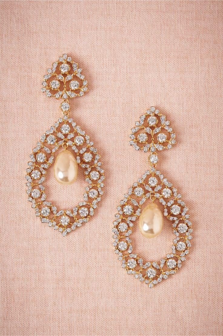Vintage pearl drop gold earrings bocheron pearl earrings gold - Crystal Embellished Earrings Gold Chandelierchandelier