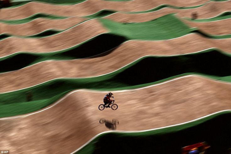 Jelle van Gorkom flies over the course in the men's individual BMX race, in which he would take silver for Holland