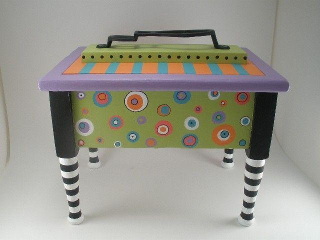 Shoe Shine Box Hand Painted Box Whimsical Box Decorated Box Whimsical Painted Furniture