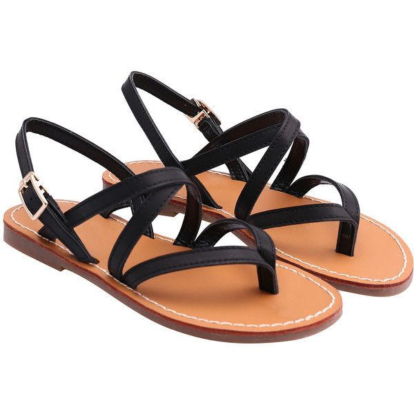 SheIn(sheinside) Black Buckle Strap Flat Sandals (£19) ❤ liked on Polyvore featuring shoes, sandals, flats, sapatos, black, black flat sandals, peep toe shoes, peeptoe flats, flats sandals en black flats