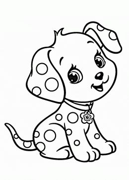 Cartoon Puppy coloring page for kids, animal coloring pages printables free