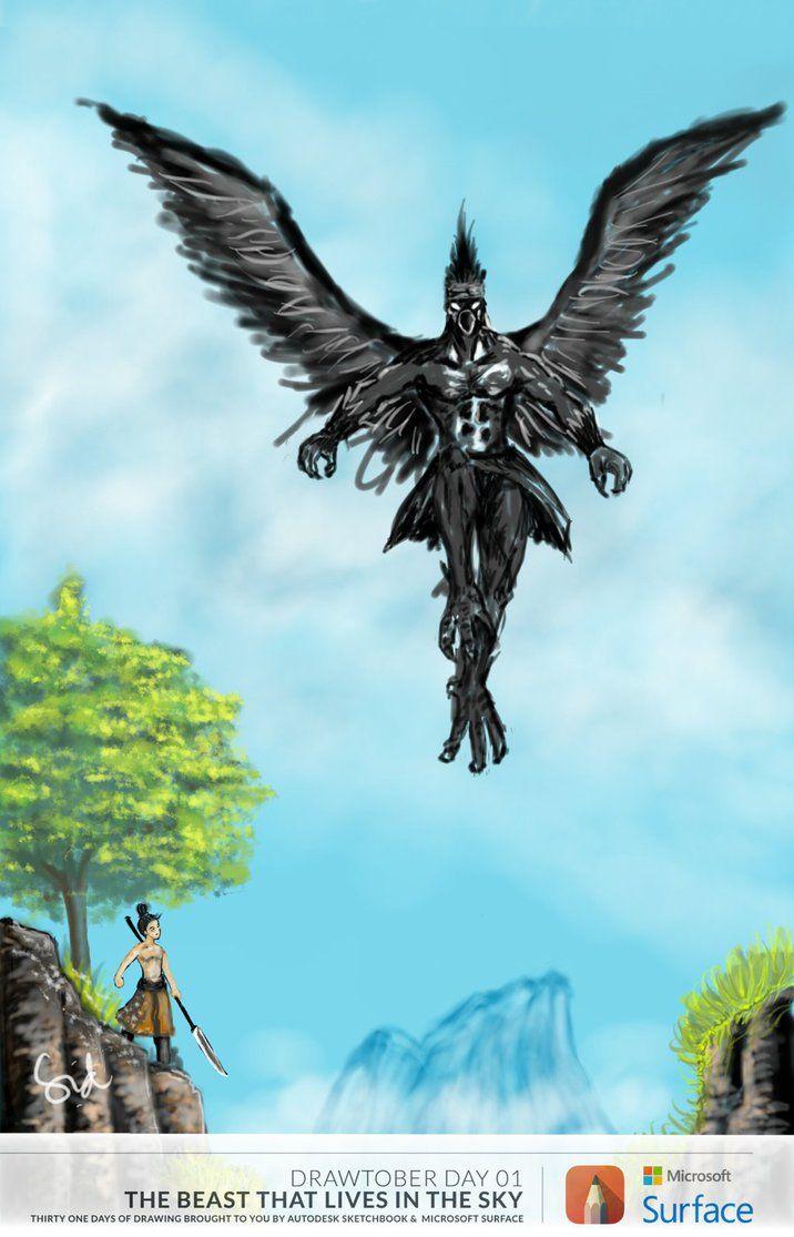 Drawtober 2014 day 01 - mythical bird by udhnis on deviantART