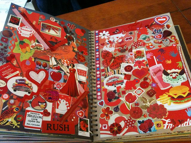 Red Smash Book Page | Flickr - Photo Sharing!i I love the idea of picking one color for the page