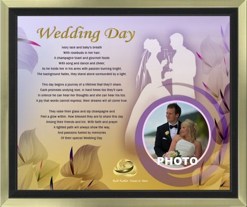 The words in this original wedding poem and artwork will provide a lifetime of treasured memories when personalized with a bridal photo. The 11 x 14 artwork is available in your choice of print only, canvas print, canvas framed, and silver and gold double-matted frames - all with free shipping in the US.