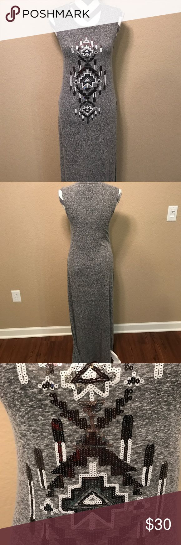 Express Sequin Maxi Dress sz. S Sz. S, Maxi length with side slits, heather grey knit with sequin Aztec design in black, grey and white. Worn a few times, like new condition Express Dresses Maxi